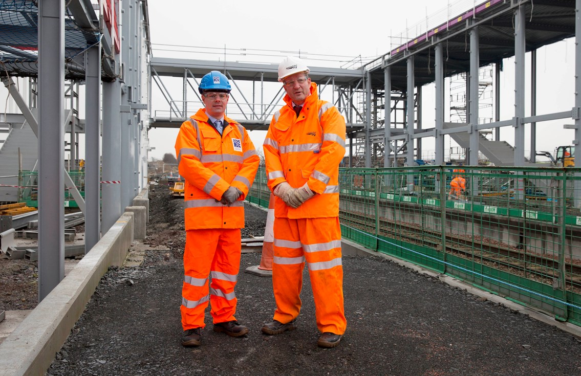 Edinburgh Gateway interchange shapes up: Edinburgh Gateway - Transport Minister Derek Mackay (left) and Phil Verster, Network Rail managing director Scotland, at the new £41m station site.