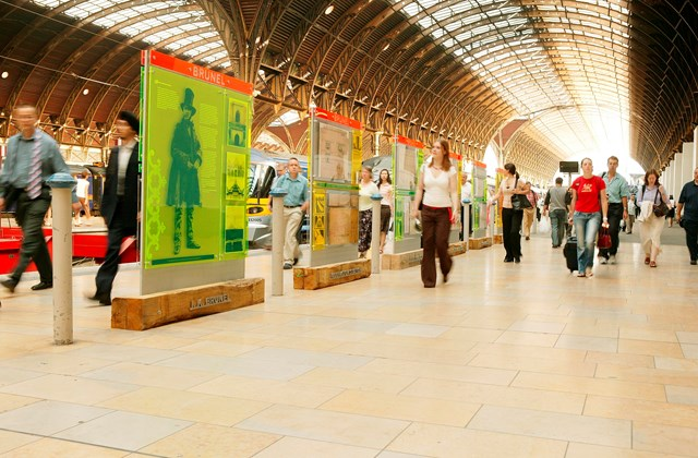 Information stands from Network Rail's Discover the Legacy exhibition