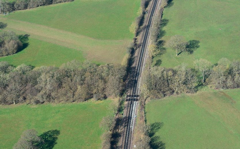 Network Rail takes emergency action to close foot crossing on railway near Hildenborough, Kent: Fouchams level crossing, Kent. Picture: Network Rail Air Ops