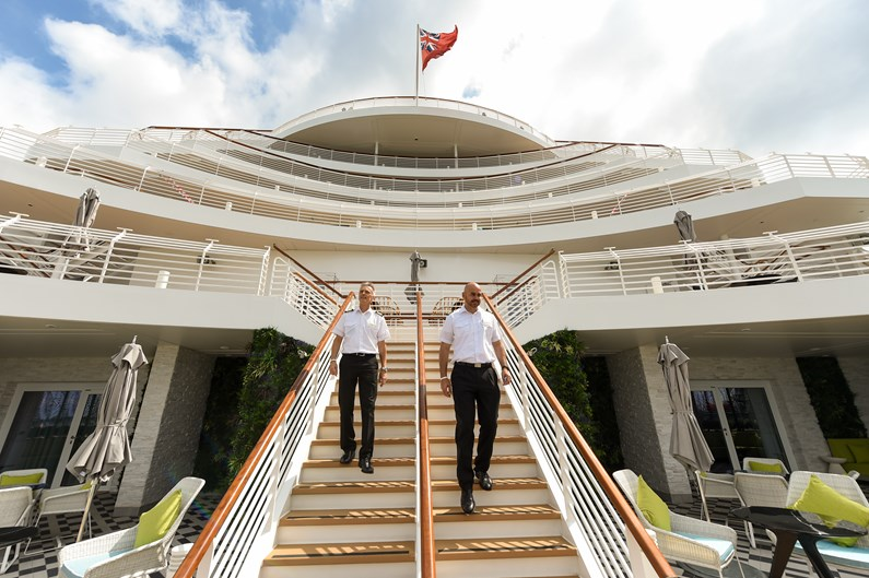 Saga Cruises' Spirit of Adventure - stern staircase and senior crew