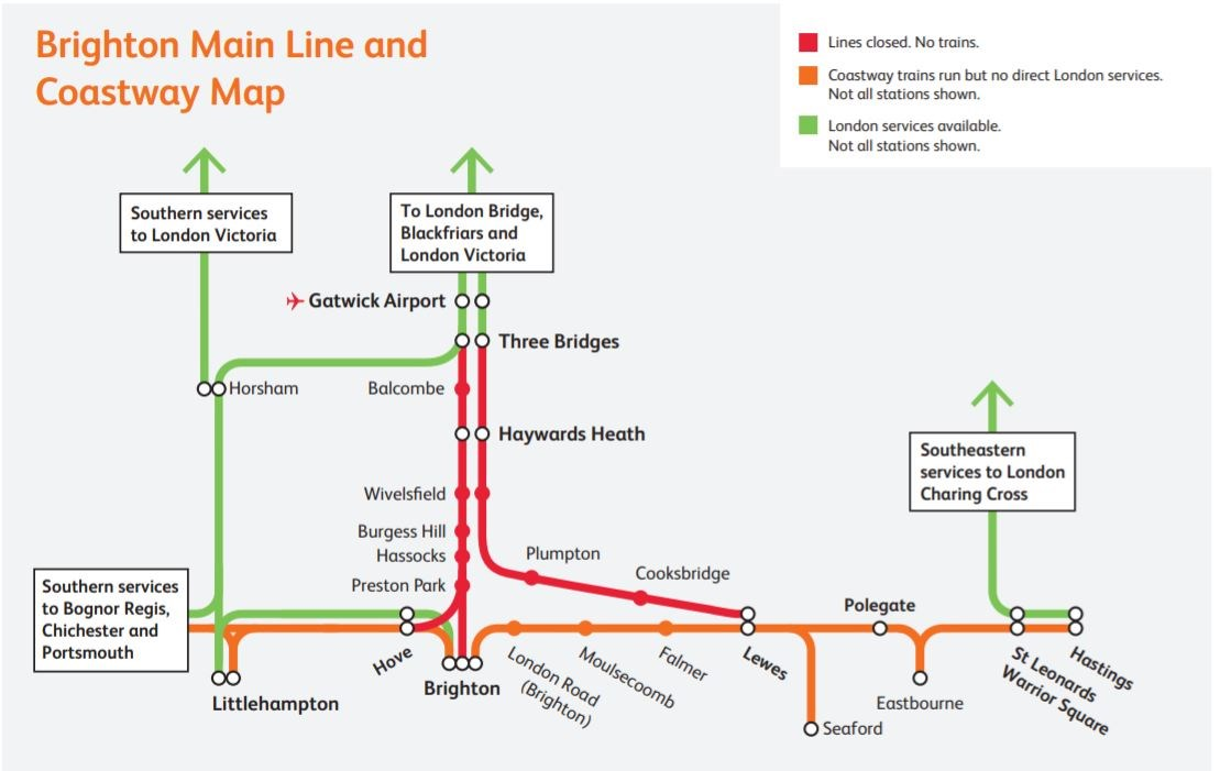 Brighton Mainline Closures Map