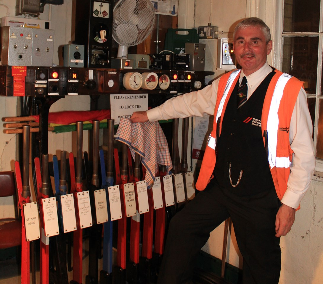Network Rail worker awarded MBE after training reserve signallers during COVID-19 pandemic: Phil Graham at Knaresborough signal box before he retired in September 2014