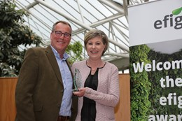 Pictured: Bob Capel, Mitie Landscapes Interior Operations Manager and Carole Plukaardd, representing efig. : Pictured: Bob Capel, Mitie Landscapes Interior Operations Manager and Carole Plukaardd, representing efig.