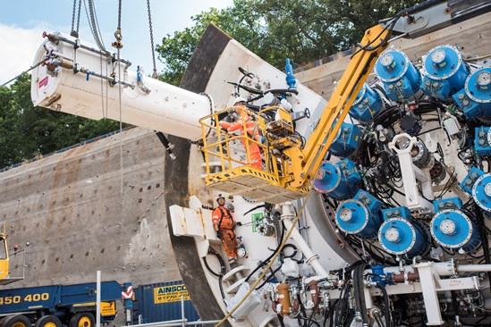Engineers assembling an HS2 tunnel boring machine at Long Itchington Wood Tunnel portal in Warwickshire HS2-VL-28096