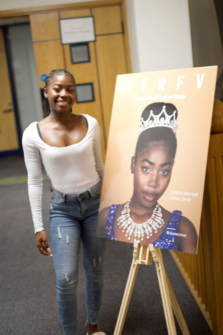 Fonthill Road Fashion Village Launch 1: Volunteer model Nyahrae Glasgow with her front-cover image on the #FRFV lookbook.