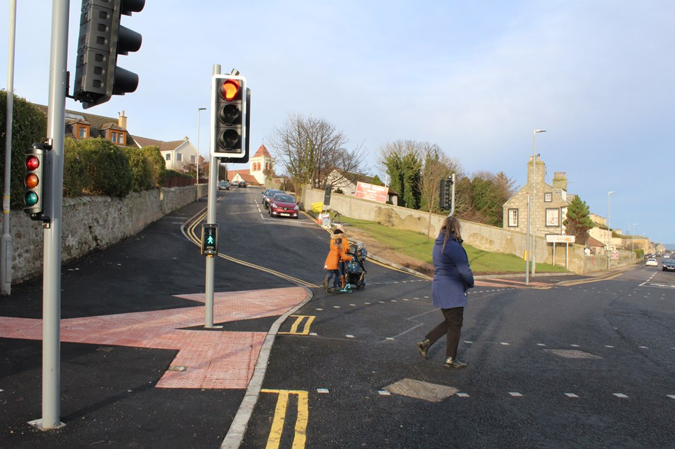New lights and pavements make crossing safer in Lossie: Traffic lights Clifton Road/School Brae