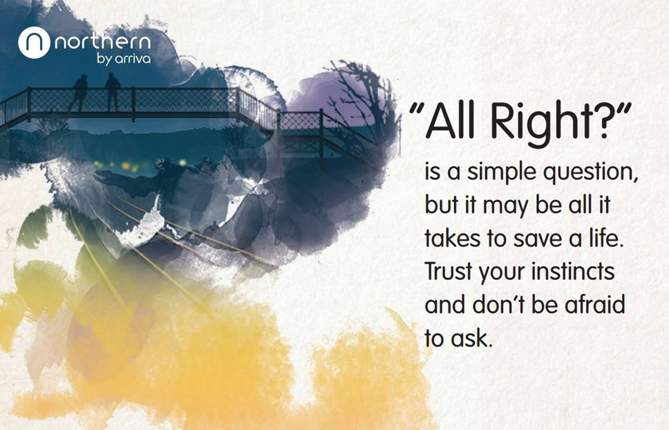 "Northern's suicide prevention campaign asks the people of Liverpool and Sunderland: ""All Right?"": All right hero image"