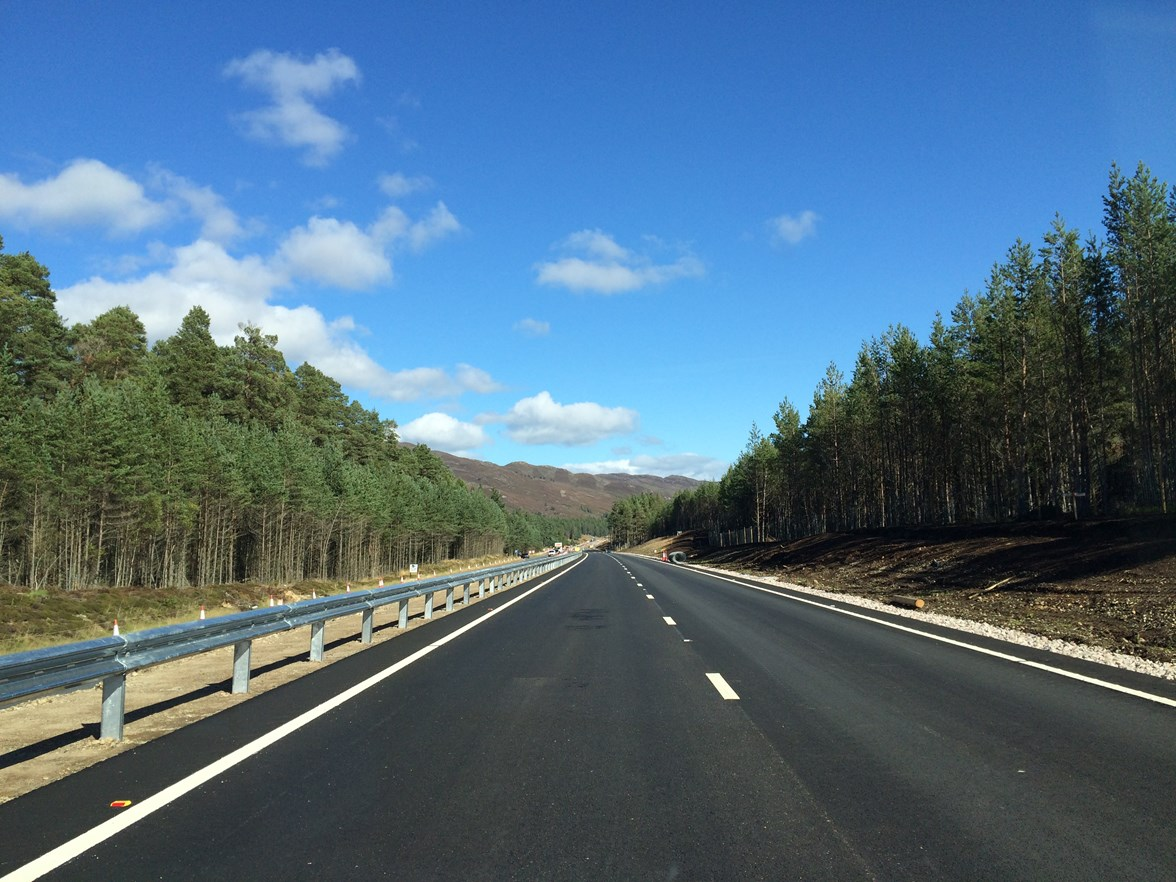 A9 Kincraig-Dalraddy ground shot as works near completion