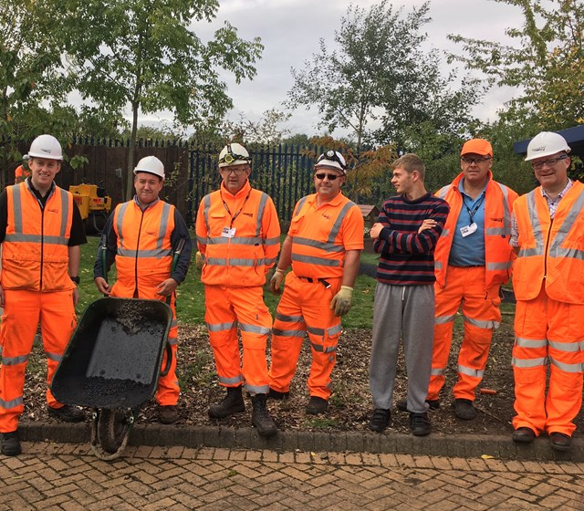 Network Rail Volunteers Oldbury L-R Paul Bavington, Roy Evans, Allun Edge, Darren Lissimore, Aran, Mark Lines, Adrian Bocking