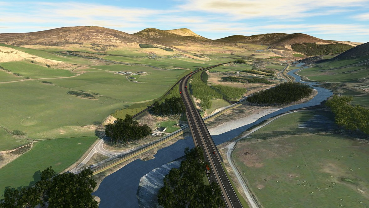A9 dualling Killicrankie junctions Option A (elevated view)