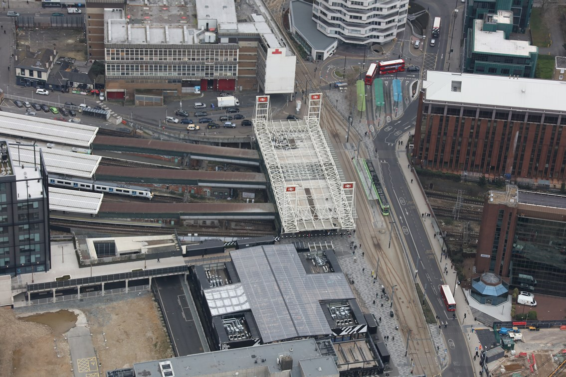 East Croydon station 2: East Croydon is a major transport interchange. Here the Tramlink can be scene at the front of the station