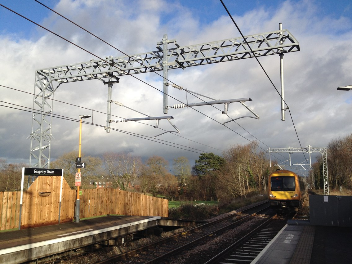Electric trains to run on Walsall-Rugeley line from May after successful railway upgrade: Walsall-Rugeley Electrification:  Completed overhead line steel work and cables