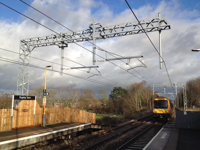 Walsall-Rugeley Electrification:  Completed overhead line steel work and cables