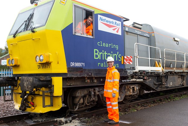 Network Rail jet trains leaf-ing their mark on the railway to help keep South Western Railway trains running safely through autumn: Paul Plawecki of Balfour Beatty and Rob Davis of Network Rail with a leaf-busting train