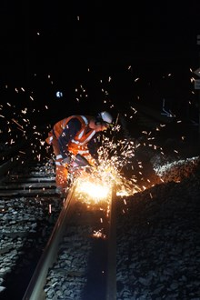 Improvement work to Tonbridge-Hastings railway through Tunbridge Wells planned to minimise disruption to passengers: Sparks fly! Rail cutting by Network Rail contractors
