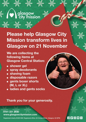 Central support for Glasgow City Mission: Glasgow Central City Mission appeal