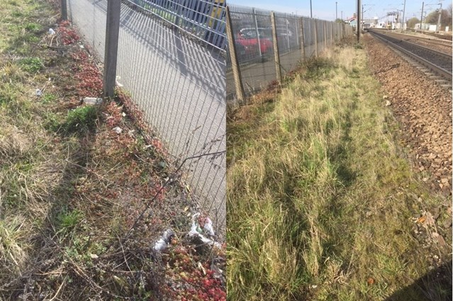 Spring clean on track - Network Rail completes railway tidy up in Newark: Before and after photo Newark North Gate