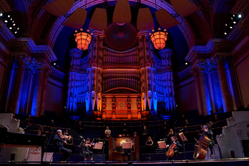Live music lives on at Leeds Town Hall during the 2020 pandemic: Musicians from the Orchestra and Chorus of Opera North in Leeds Town Hall, Switch ON Season Launch, September 2020 credit Justin Slee