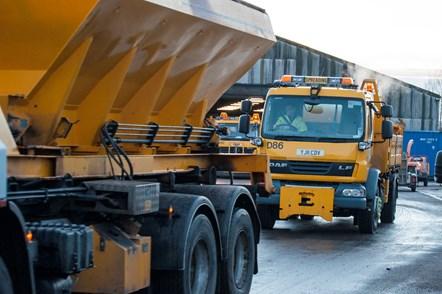 Gritting trucks leaving Ashgrove depot: Gritting in Moray