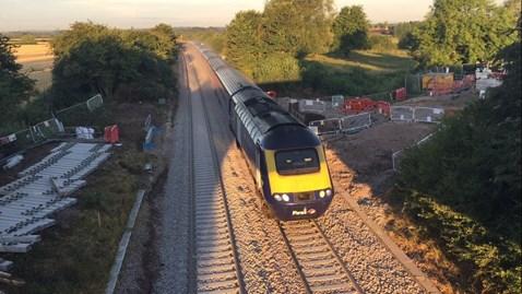 0552 Chippenham to London Paddington service passing over the new culvert at Dauntsey