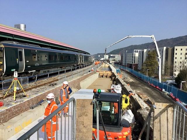 Swansea Station platform 4 under construction