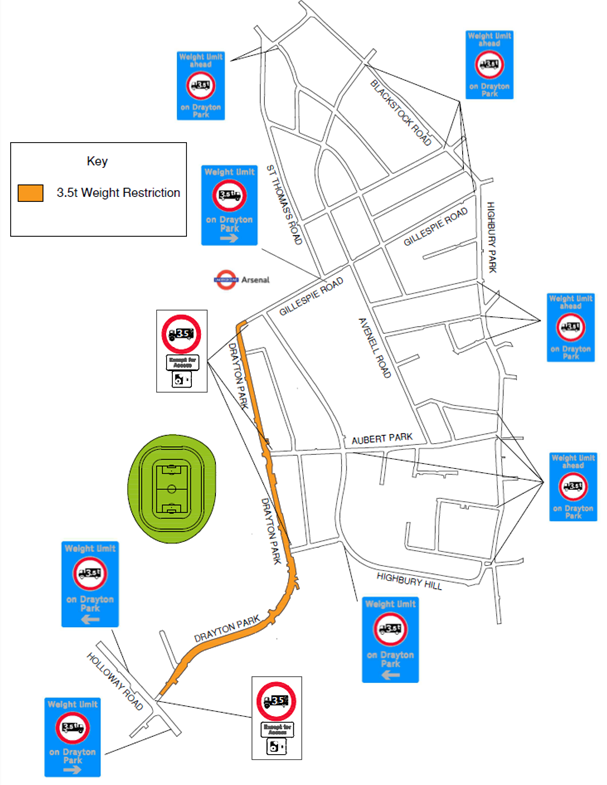 New trial virtual weight restriction on HGVs set to begin in Drayton Park: Drayton Park map