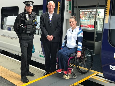Justine Moore 1: PC John Phillips of BTP and Northern's Regional Director Chris Jackson have worked together to sponsor Justine Moore ahead of the Tokyo Paralympics
