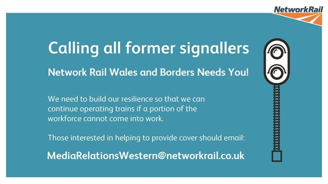 Network Rail calls on former signallers in the Wales and Borders area to help keep vital train services moving: Signallers W&B