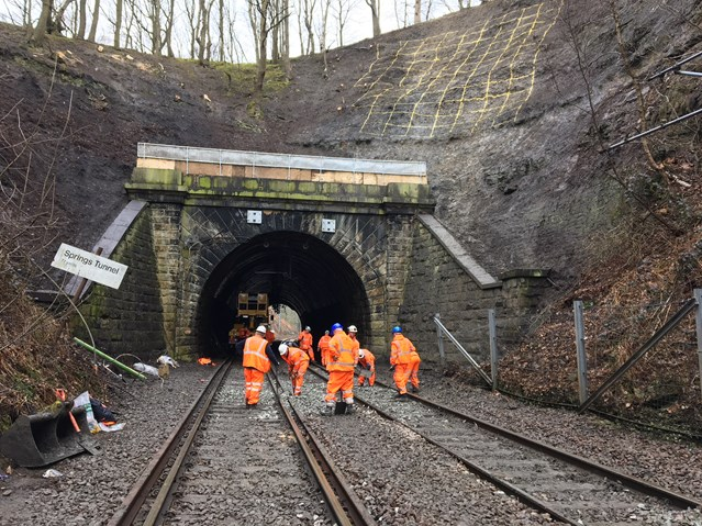 Network Rail engineers work non-stop to reopen Yorkshire rail line closed by landslip: Network Rail engineers work non-stop to reopen Yorkshire rail line closed by landslip-2
