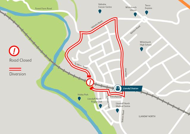 Cardiff residents reminded of upcoming railway bridge refurbishment: Glamorganshire Canal bridge diversion map
