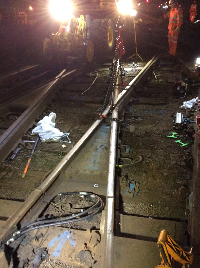 Lewisham: a broken diamond crossing is removed overnight by Network Rail staff (Sept 30): Lewisham: a broken diamond crossing is removed overnight by Network Rail staff (Sept 30)