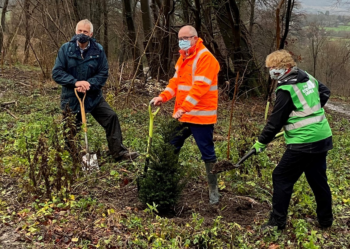 Thousands of trees planted as Network Rail's £1 million pledge takes root across the country: Andrew Haines, Sara Lom and Andrew Shaxton parish council chair, South Harting planting 3 December 2020 (2)