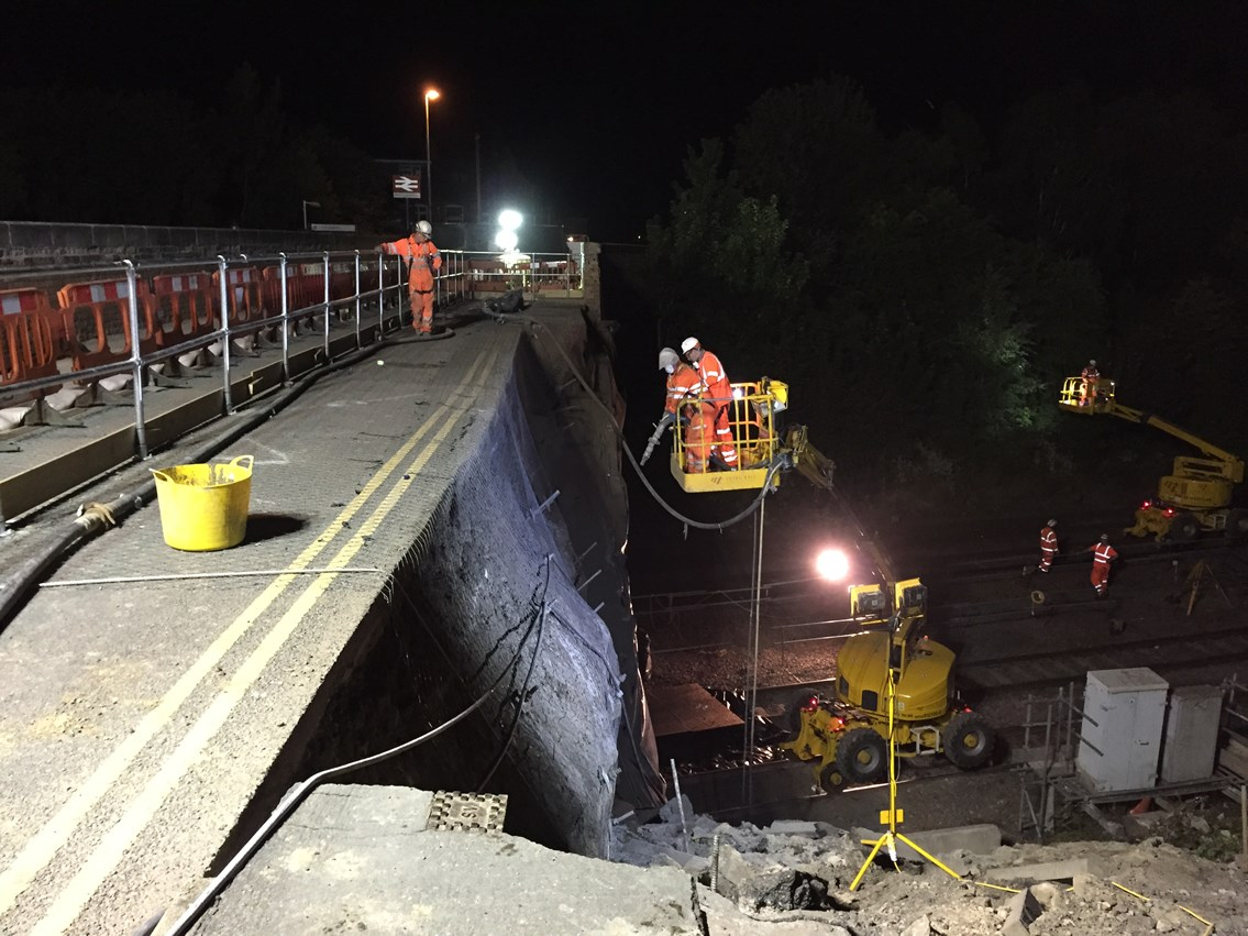 Barrow upon Soar bridge reopens to pedestrians: Much of the repair work at Barrow upon Soar has taken place during the night when trains are not running