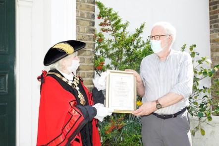 Mark Austin: Mark Austin receiving his Civic Award from Islington Mayor Cllr Janet Burgess