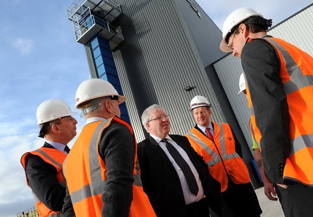 Doncaster Sleeper Factory opening: Secretary of State for Transport, Patrick McLoughlin, opens Doncaster Sleeper Factory with Phil Verster (route managing director, Network Rail), Peter Heubeck and team.