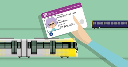A cartoon of someone holding up a women's concessionary travel scheme card: A cartoon of someone holding up a women's concessionary travel scheme card