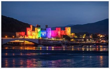 Conwy Castle bridge Rainbow