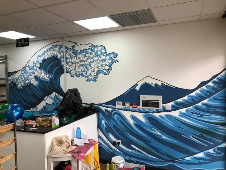 Incredible Edible mural: One of artist Penny Rowe's previous pieces based on The Great Wave by Katsushika Hokusai.