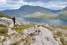 A hillwalker on the mountain trail at Beinn Eighe National Nature Reserve © Lorne Gill SNH