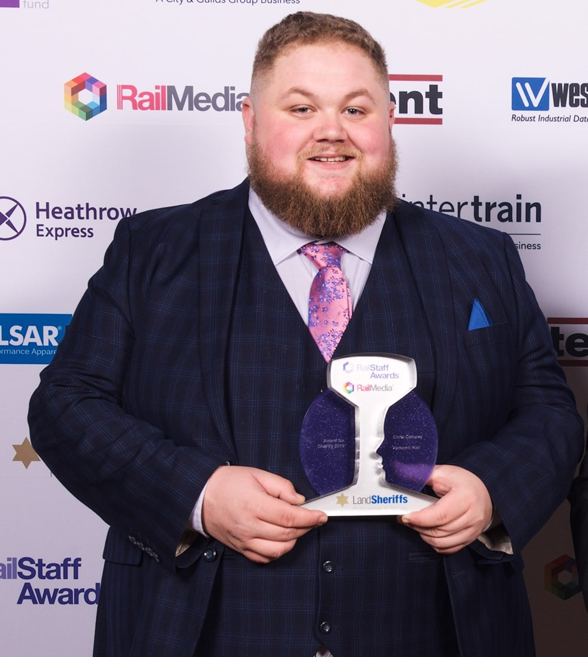 Blackpool homelessness ambassador wins another charity award: Chris Conway Rail Staff award winner