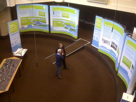 A bird's eye view of the exhibition at Reading
