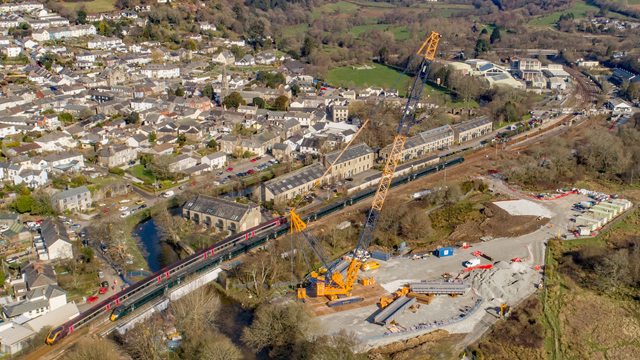 Rail improvement work completed in Lostwithiel: Drone shot of Lostwithiel