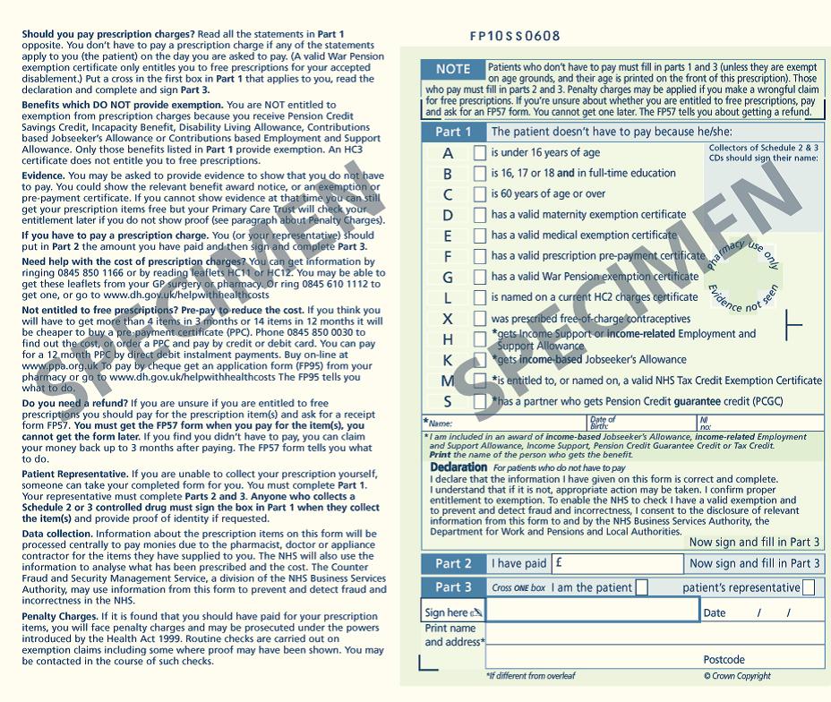 Sample image: Old FP10 Paper Prescription Form