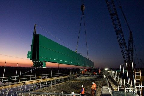 New bridge at Ely is lifted in place
