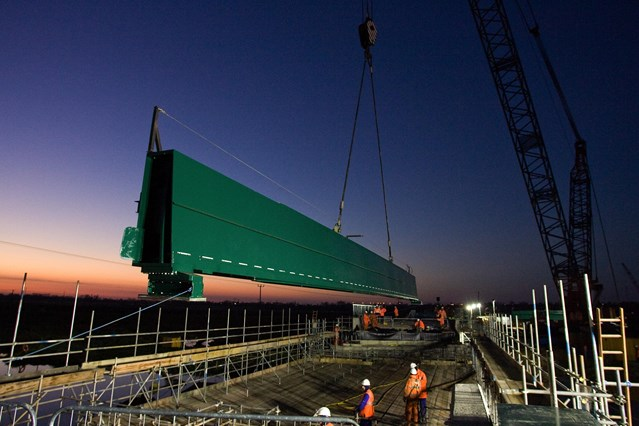 ELY BRIDGE ON TRACK FOR CHRISTMAS OPENING: New bridge at Ely is lifted in place