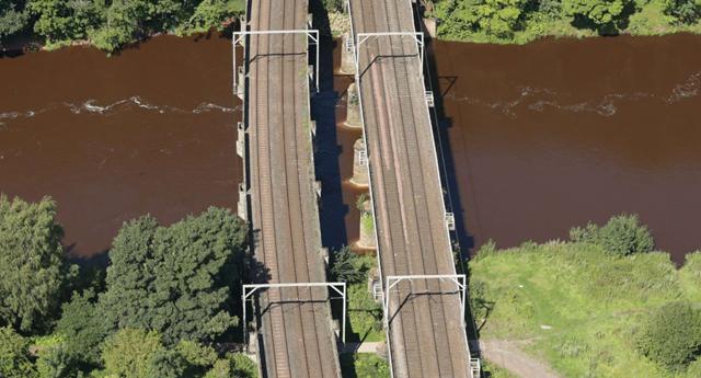 Aerial view Eden railway viaducts