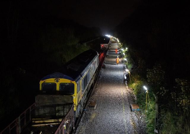 engineering train at night