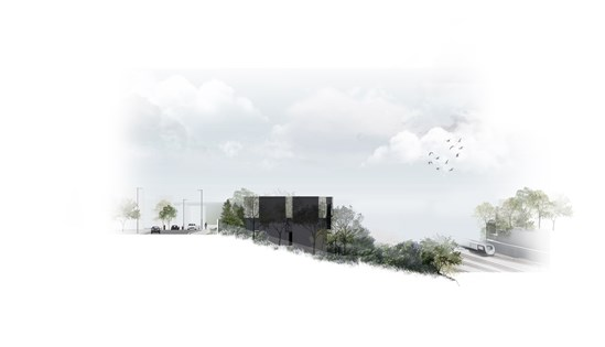 Visualisation of Adelaide Headhouse from the western end of Adelaide Road and the Adelaide Road nature reserve: Tags: Headhouse, Key Design Element, London, Camden, Tunneling