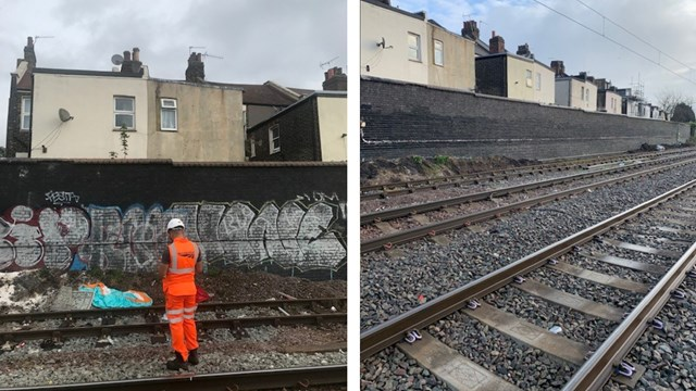 Before and after graffiti clearance in Harlesden