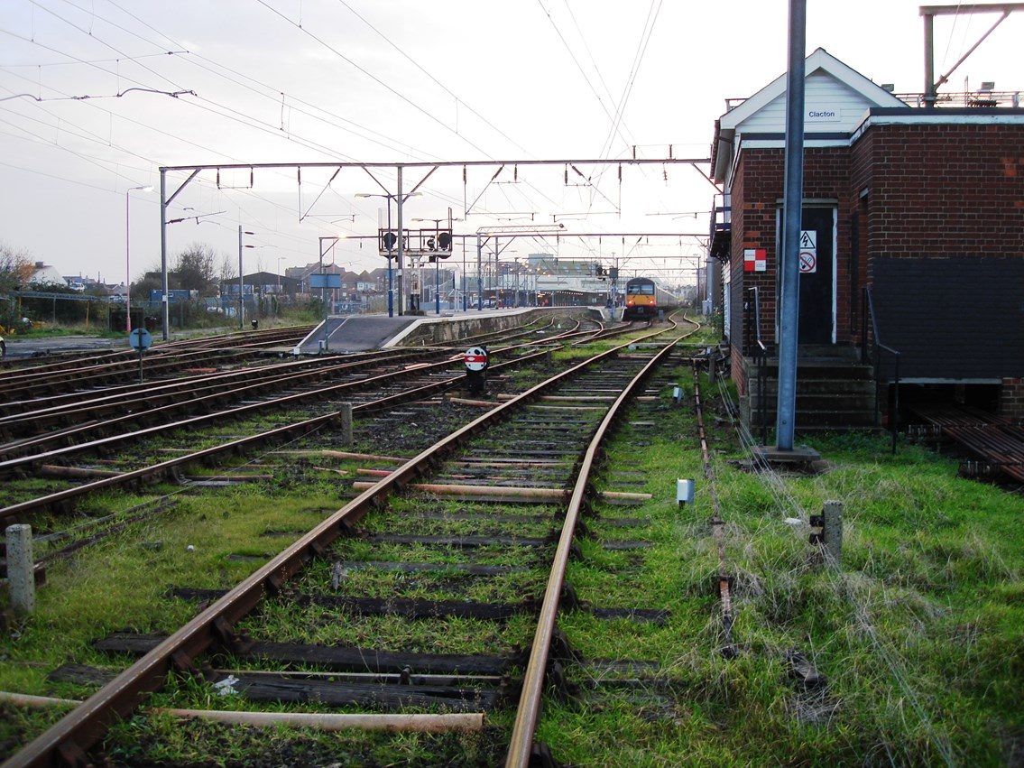 23-days of engineering work to modernise the railway around Clacton-on-Sea: Clacton signal box train approaching